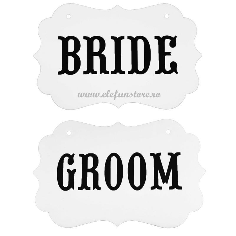 Set 2 Props-uri Tablita Alba BRIDE, GROOM