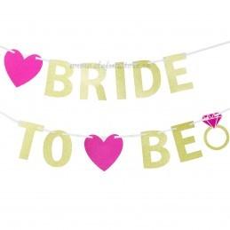 Banner Bride To Be Auriu cu sclipici 2m