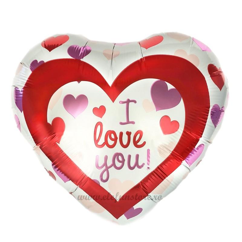 Balon Inima Alba Lots of Hearts