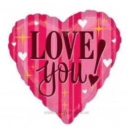 Balon Inima LOVE Pink Stripes