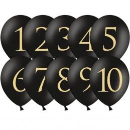 Set 10 baloane negre Cifre 1-10 Aurii