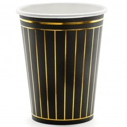 Set 6 pahare negre cu dungi aurii