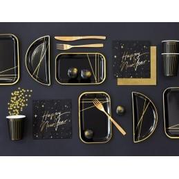 Set 6 platouri negre cu dungi aurii 21.5*10.5 cm