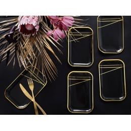 Set 6 platouri dreptunghiulare negre cu dungi aurii 22*13 cm