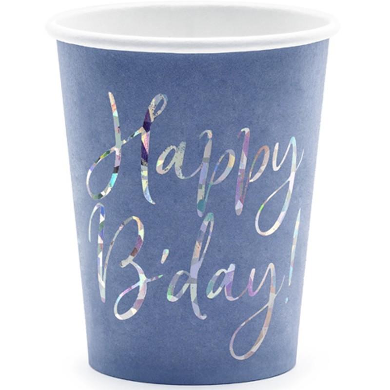 Set 6 pahare mov Happy Birthday Iridiscent