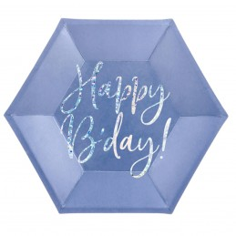 Set 6 farfurii mov Happy Birthday Iridiscent 20cm