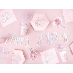 Set 6 farfurii roz Happy Birthday Iridiscent 20cm