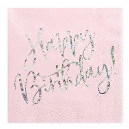 Set 20 servetele roz Happy Birthday Iridiscent