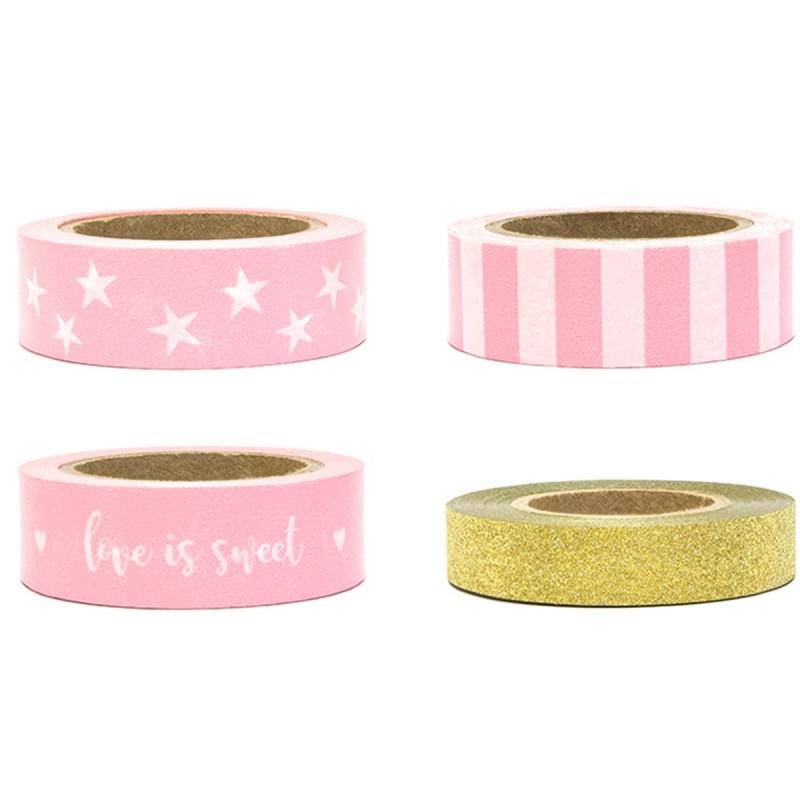 Set 4 benzi adezive Washi Tape mix roz 10m * 1.5cm