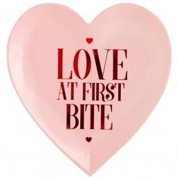 Set 6 farfurii inima roz Love at first bite 18.5cm