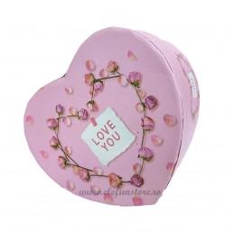 Cutie inima roz LOVE YOU 11 cm