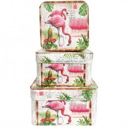 Set 3 cutii patrate Flamingo, 17-15-13 cm