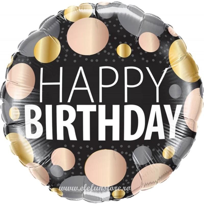 Balon Happy Birthday cu bulinute metalizate