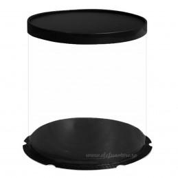 Cutie acetofan rotunda 30 cm, capac negru