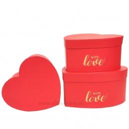 Set 3 cutii inima rosii WITH LOVE