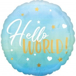 Balon HELLO WORLD ! bleu