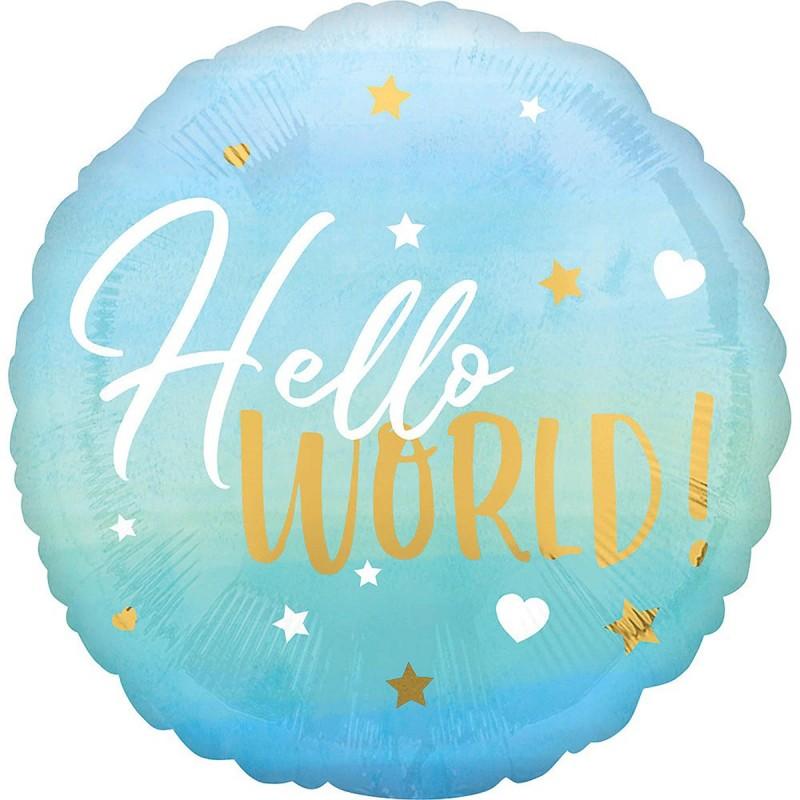 Balon HELLO WORLD ! bleu