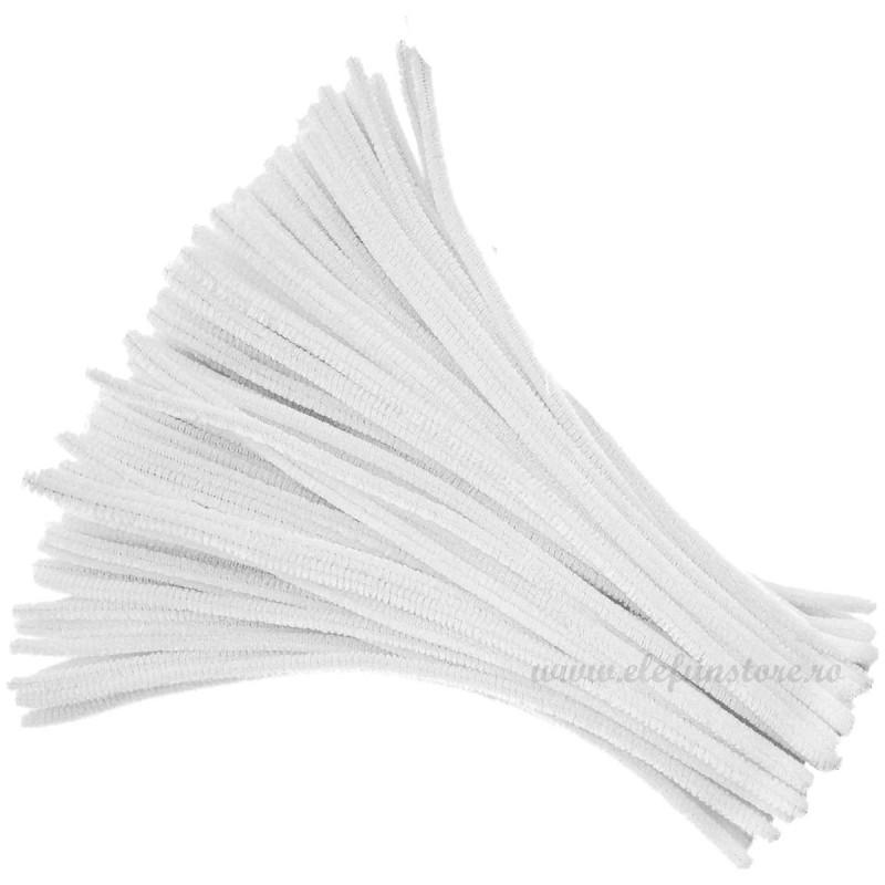 Set 100 Chenille-Sarma Plusata Alba 30cm*5mm