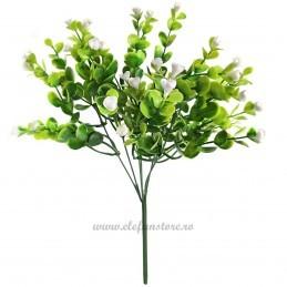 Buchet frunzulite si floricele albe, 6 fire 30 cm