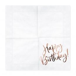 Set 20 servetele Happy Birthday Rose Gold