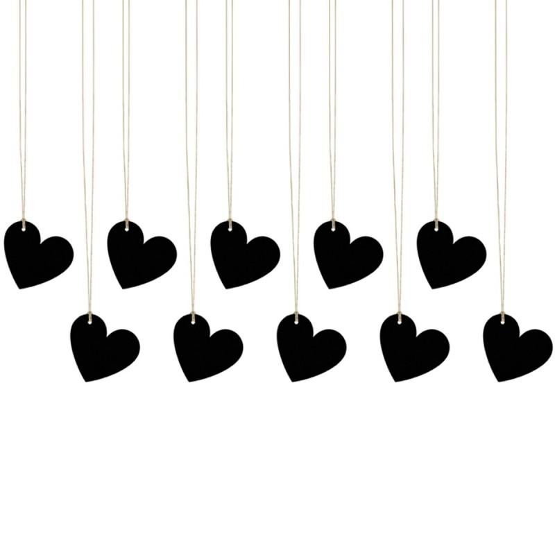 Set 10 etichete inimioare negre 5 cm