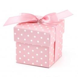 Set 10 Cutiute cu fundita, roz cu bulinute 5 cm