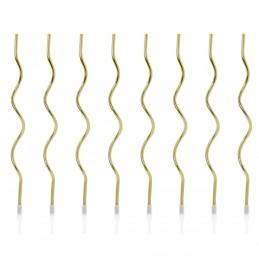 Set 8 lumanari curls aurii 14 cm