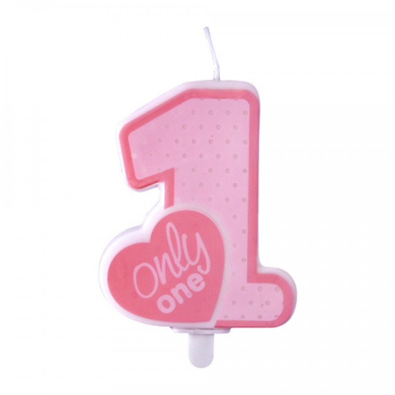 Lumanare Cifra 1 roz, Only One, 8 cm