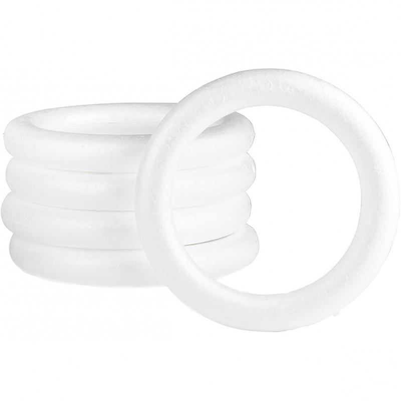 Set 5 inele din polistiren alb 16cm