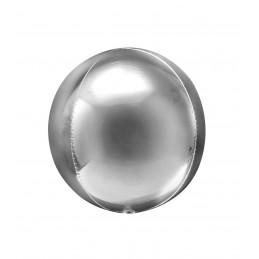 Balon Sfera 3D 25cm Argintiu Metalizat