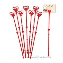 Set 10 betisoare inima rosii pt etichete 34 cm