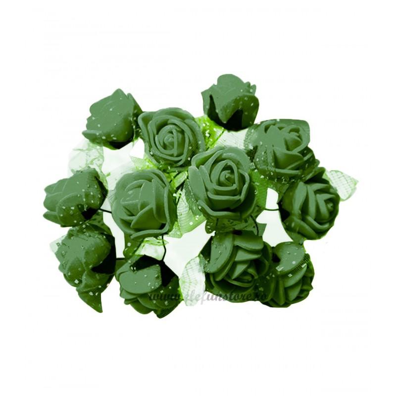 Set 144 trandafiri din spuma verde olive 2cm