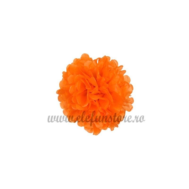 Floare Pom Pom Portocalie 25 cm