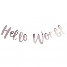 Banner HELLO WORLD rose gold