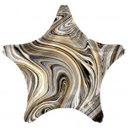 Balon Stea Marble Neagra 45cm