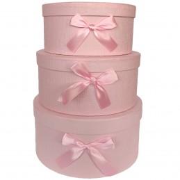 Set 3 cutii rotunde roz cu...