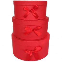 Set 3 cutii rotunde rosii...