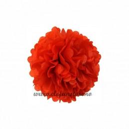 Floare Pom Pom Rosu 30 cm
