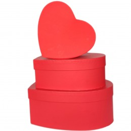 Set 3 cutii inima rosii...