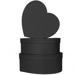 Set 3 cutii inima negre...