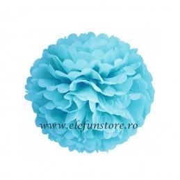 Floare Pom Pom Bleu 40 cm