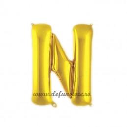 "Balon "" Litera N "" Shiny Gold Slim"