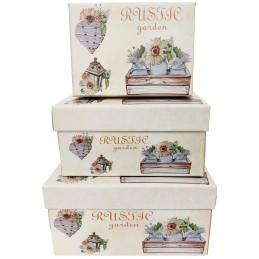 Set 3 cutii Rustic Garden,...