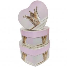 Set 3 cutii inima roz Crown...
