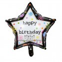 Balon Stea Neagra Happy Birthday 45cm