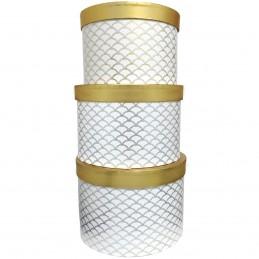 Set 3 cutii cilindrice albe...