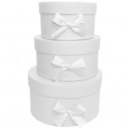 Set 3 cutii rotunde albe cu...