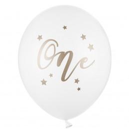 Set 5 baloane albe ONE auriu