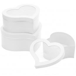Set 3 cutii inima albe cu...
