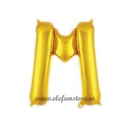 "Balon "" Litera M "" Shiny Gold Slim"